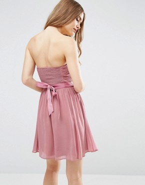 photo Chiffon Bandeau Mini Dress with Detachable Corsage by ASOS WEDDING, color Rose Pink - Image 2