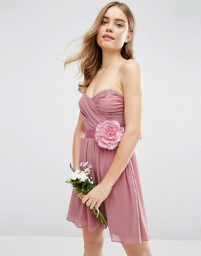 photo Chiffon Bandeau Mini Dress with Detachable Corsage by ASOS WEDDING, color Rose Pink - Image 1