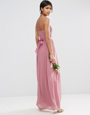 photo Chiffon Bandeau Maxi Dress with Detachable Corsage by ASOS WEDDING, color Rose Pink - Image 2