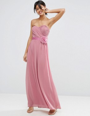 photo Chiffon Bandeau Maxi Dress with Detachable Corsage by ASOS WEDDING, color Rose Pink - Image 1