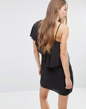 photo One Shoulder Ruffle Cheesecloth Dress by Mango, color Black - Image 2