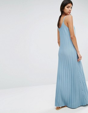 photo Pleated Maxi Dress by Mango, color Soft Blue - Image 2