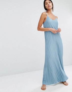 photo Pleated Maxi Dress by Mango, color Soft Blue - Image 1