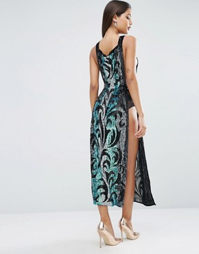 photo Sequin Tabard Midi Dress with Stripe by ASOS RED CARPET, color  - Image 2