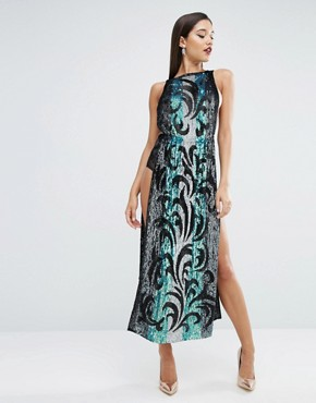 photo Sequin Tabard Midi Dress with Stripe by ASOS RED CARPET, color  - Image 1