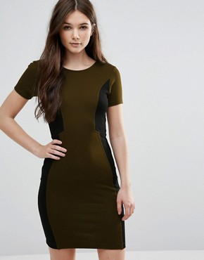 photo Manhattan Colourblock Dress in Turtle by French Connection, color Turtle/Black - Image 1