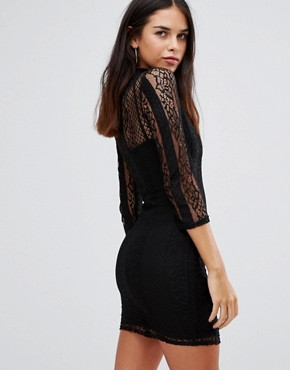 photo 3/4 Sleeve High Neck Lace Bodycon Dress by Club L, color Black - Image 2