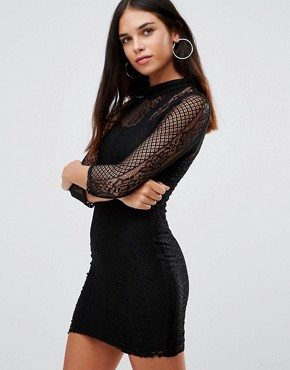 photo 3/4 Sleeve High Neck Lace Bodycon Dress by Club L, color Black - Image 1
