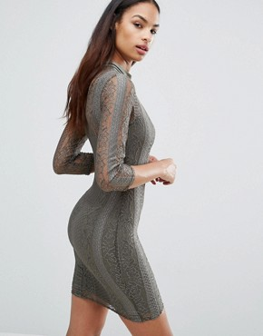 photo 3/4 Sleeve High Neck Lace Bodycon Dress by Club L, color Khaki - Image 2