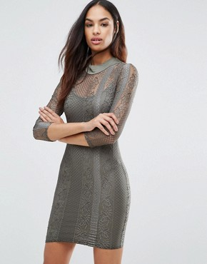 photo 3/4 Sleeve High Neck Lace Bodycon Dress by Club L, color Khaki - Image 1