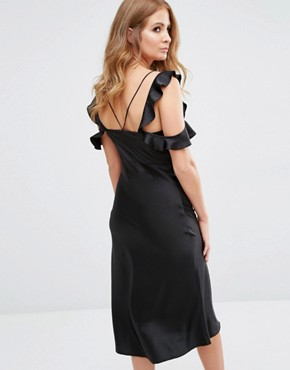 photo Ruffle Detail Midi Slip Dress by Millie Mackintosh, color Black - Image 2