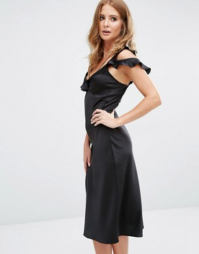 photo Ruffle Detail Midi Slip Dress by Millie Mackintosh, color Black - Image 1