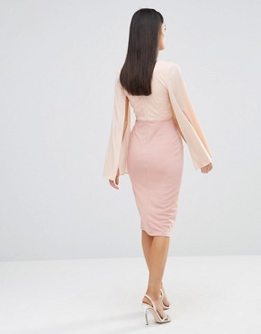 photo Plunge Contrast Midi Dress by Rare London, color Pink - Image 2