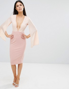 photo Plunge Contrast Midi Dress by Rare London, color Pink - Image 1