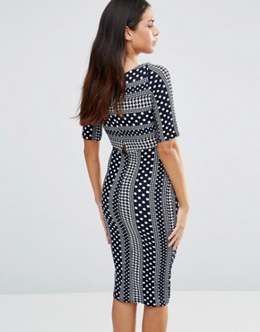 photo 3/4 Sleeve Printed Pencil Dress by TFNC, color Navy/White - Image 2