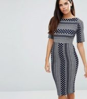 photo 3/4 Sleeve Printed Pencil Dress by TFNC, color Navy/White - Image 1