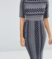 photo 3/4 Sleeve Printed Pencil Dress by TFNC, color Navy/White - Image 3