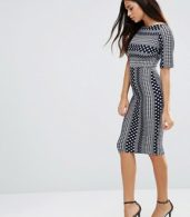 photo 3/4 Sleeve Printed Pencil Dress by TFNC, color Navy/White - Image 4