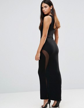 photo Maxi Dress With Mesh Detail And Side Split by TFNC, color Black - Image 2