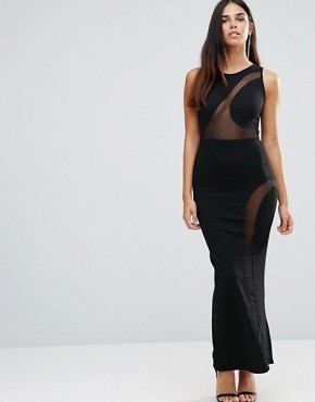 photo Maxi Dress With Mesh Detail And Side Split by TFNC, color Black - Image 1