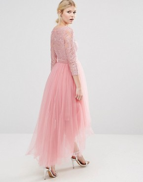 photo Metallic Lace Midi Prom Dress with Tulle Skirt by Chi Chi London Petite Premium, color Dusty Rose - Image 2