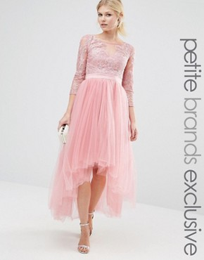 photo Metallic Lace Midi Prom Dress with Tulle Skirt by Chi Chi London Petite Premium, color Dusty Rose - Image 1