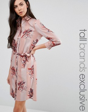 photo Stripe Floral Print Stepped Hem Pyjama Shirt Dress by Alter Tall, color  - Image 1