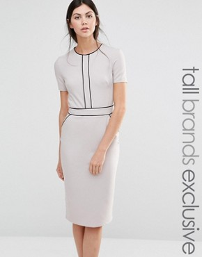 photo Short Sleeve Pencil Dress with Piping Detail by Alter Tall, color Grey - Image 1