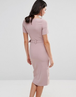 photo Belted Pencil Dress with Split Front Detail by Alter Tall, color Rose Pink - Image 2