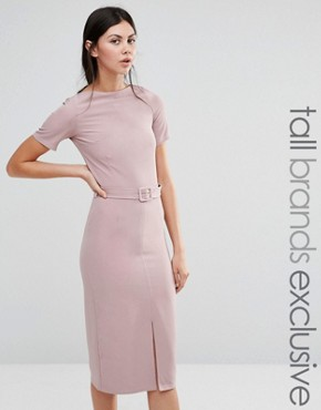 photo Belted Pencil Dress with Split Front Detail by Alter Tall, color Rose Pink - Image 1
