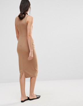 photo Sleeveless Pencil Dress with Keyhole and High Neck Detail by Alter Tall, color Camel - Image 2