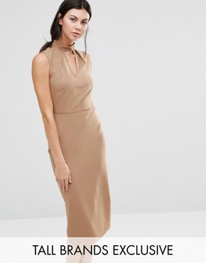 photo Sleeveless Pencil Dress with Keyhole and High Neck Detail by Alter Tall, color Camel - Image 1