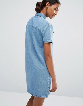 photo Zip Front Mini Denim Dress by Daisy Street Tall, color Blue - Image 2