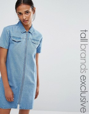 photo Zip Front Mini Denim Dress by Daisy Street Tall, color Blue - Image 1