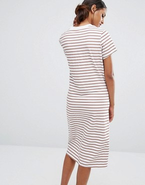 photo Tie Waist Jersey Dress In Blush Stripe by Daisy Street Tall, color Blush Stripe - Image 2