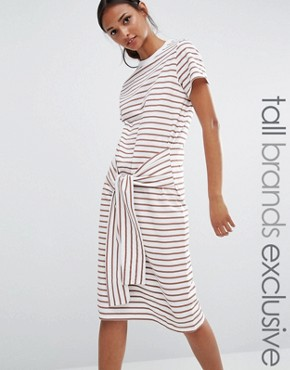 photo Tie Waist Jersey Dress In Blush Stripe by Daisy Street Tall, color Blush Stripe - Image 1