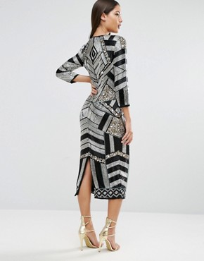 photo Extreme Embellished Long Sleeve Midi Sequin Dress by ASOS RED CARPET, color  - Image 2