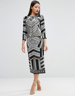 photo Extreme Embellished Long Sleeve Midi Sequin Dress by ASOS RED CARPET, color  - Image 1
