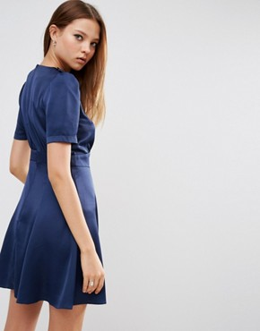 photo Short Sleeve Satin Tea Dress With Rouleau Buttons by ASOS, color Navy - Image 2