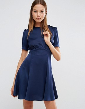 photo Short Sleeve Satin Tea Dress With Rouleau Buttons by ASOS, color Navy - Image 1