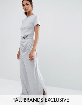 photo Knot Front Jersey Maxi Dress by Daisy Street Tall, color Grey - Image 1
