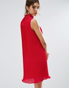photo Sleeveless High Neck Pleated Swing Dress by ASOS, color Red - Image 2