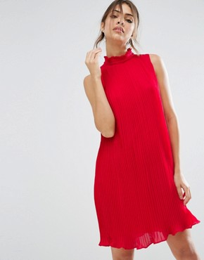 photo Sleeveless High Neck Pleated Swing Dress by ASOS, color Red - Image 1