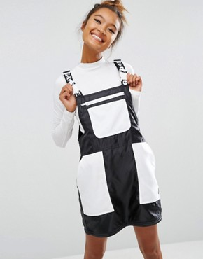 photo Dungaree Dress In Satin with Colour Block by Mini Cream, color Black/White - Image 1