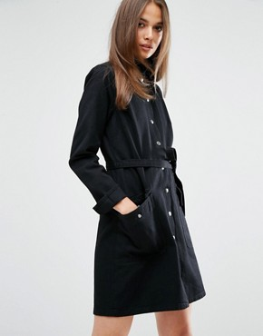 photo Ohio Utility Shirt Dress with Belt by MiH Jeans, color Rinse Black - Image 1
