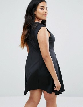 photo Lace Skater Dress by New Look Plus, color Black - Image 2