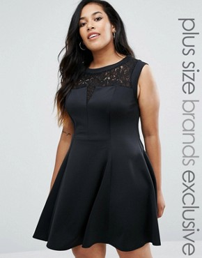 photo Lace Skater Dress by New Look Plus, color Black - Image 1