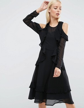 photo Cold Shoulder Midi Dress With Pleat Detail by ASOS, color Black - Image 1