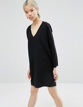 photo Plunge Neck Shift Dress With Raw Edge by ASOS, color Black - Image 1