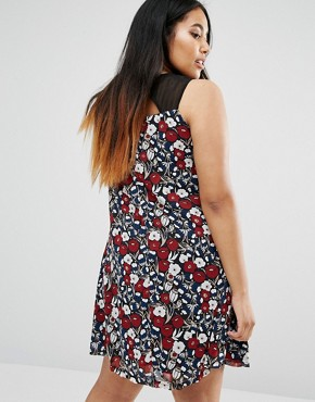 photo Swing Dress with Mesh Insert by Live in Love Plus, color Wine - Image 2